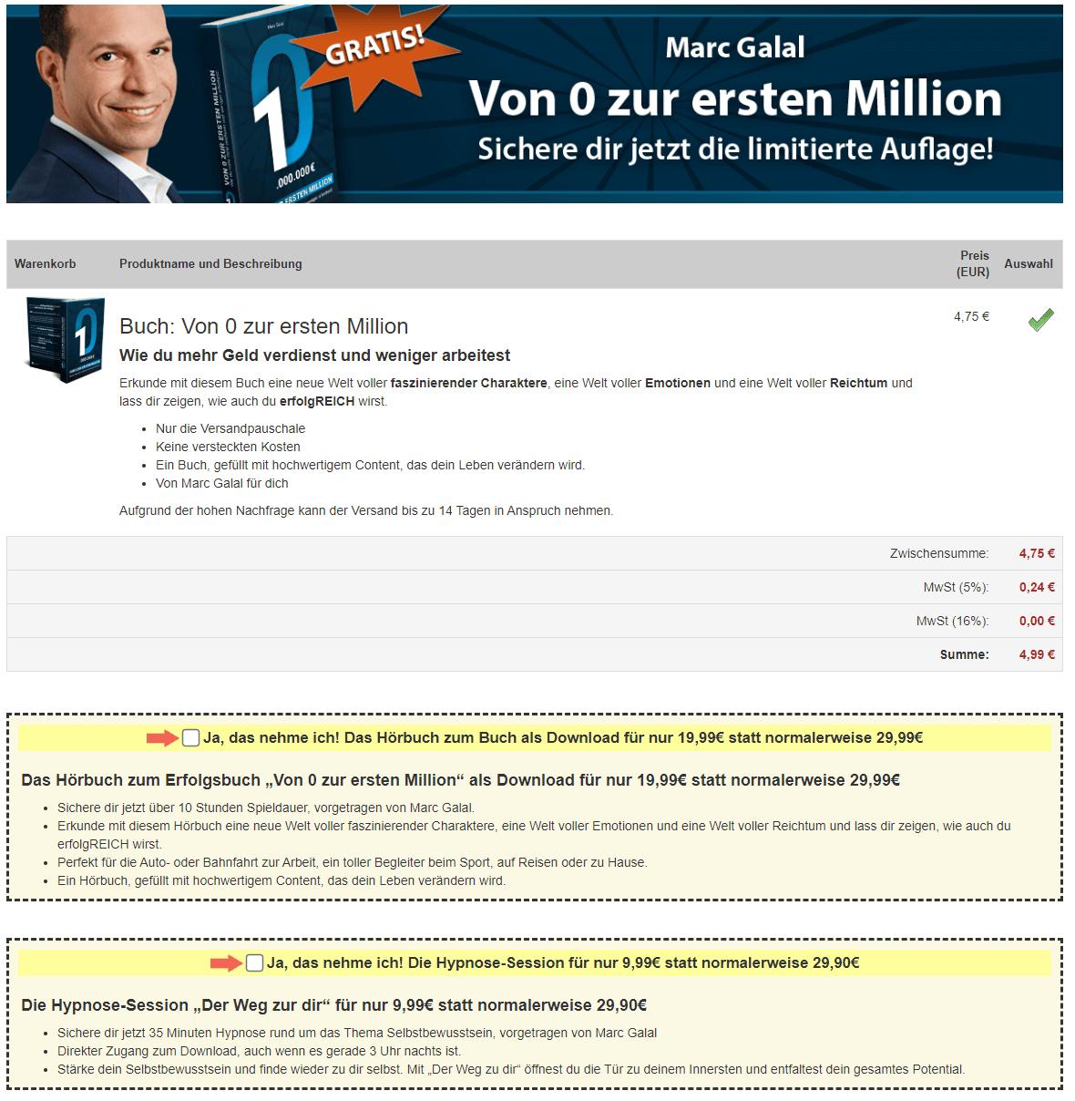 Marc Galal Buch von 0 zur ersten Million Bestellung